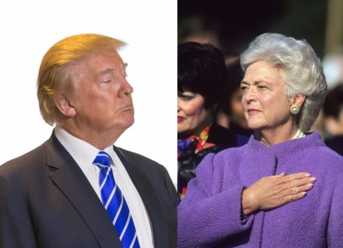 President Donald Trump and former First Lady Barbara Bush