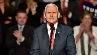Mike Pence speaking at a 2016 rally