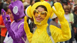 Unidentified participants in Teletubbies costumes march in the Cyprus Carnival Parade on March 2, 2014 in Limassol, Cyprus