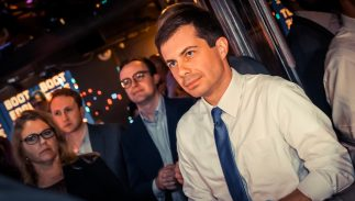 Chasten and Pete Buttigieg attend a Los Angeles fundraiser on May 15 2019