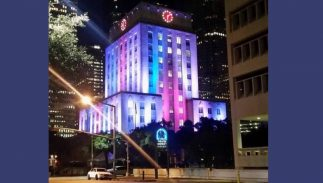 Houston's city hall in trans flag colors