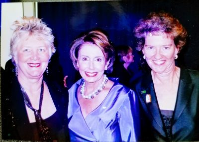 Lee Kyser and Lawrie Demorest post with Congresswoman Nancy Pelosi at the HRC National Dinner in 2007.