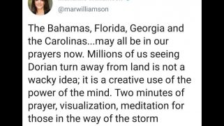 The religious right is claiming a prayer 'victory' over Hurricane Dorian. So is Marianne Williamson.