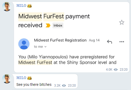 Milo's messages on Telegram