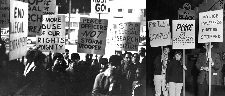 An image of protestors at the Black Cat raid.