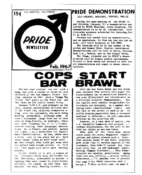 A copy of the Pride newsletter after the Black Cat raid.