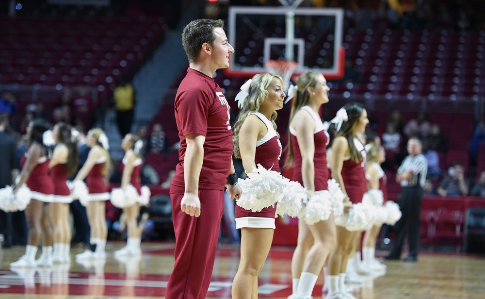 The Temple Owls cheerleaders perform on the court during the NCAA basketball game November 30, 2014, in Philadelphia.