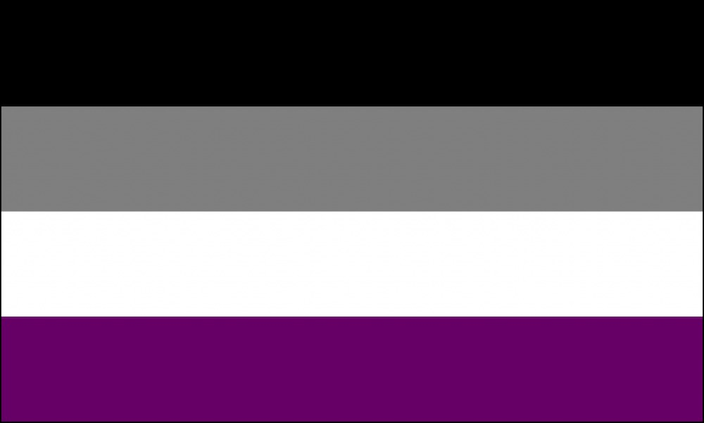 From top to bottom, the asexual flag has black, grey, white and purple stripes.