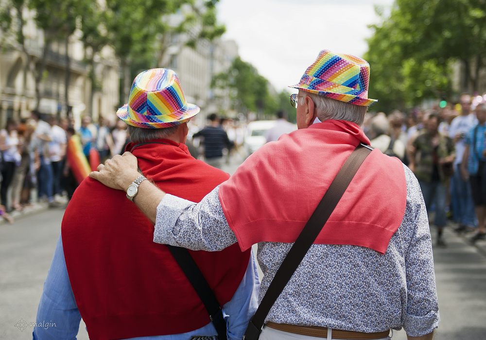 An elderly gay couple