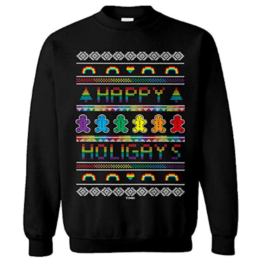 This Happy Holigays sweater is a rainbow-colored nightmare before Christmas.