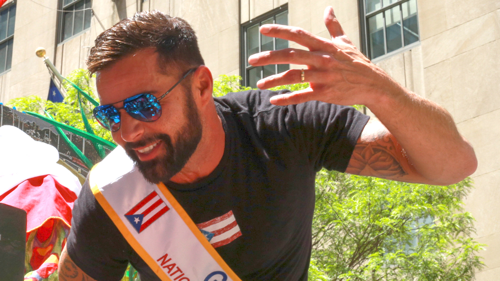 Latin music artist Ricky Martin during 62nd annual Puerto Rican Day Parade in New York City