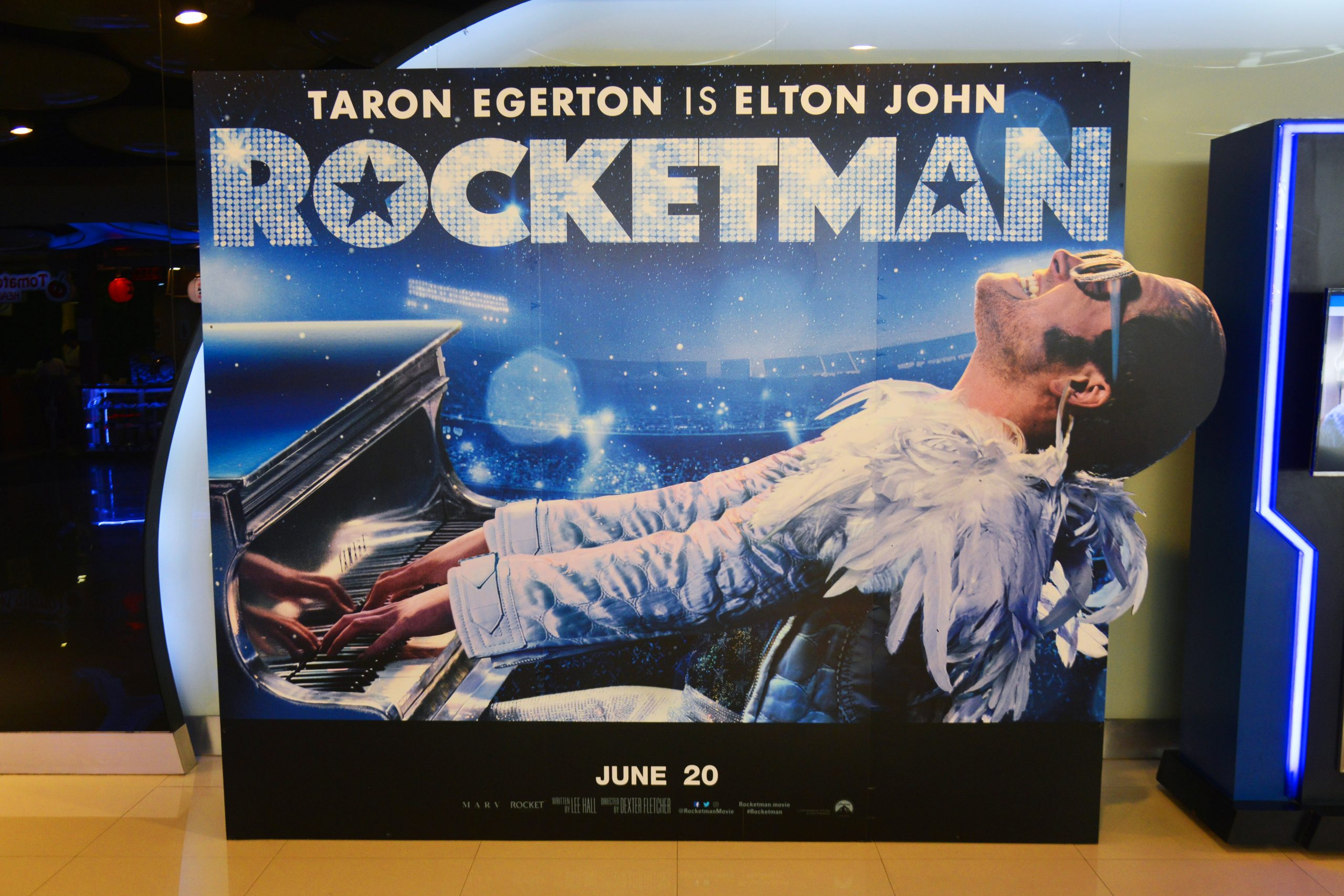 "Ad of biographical musical drama Movie ""Rocketman"" based on the life of musician Elton John, displayed at a theater in Bangkok, Thailand."