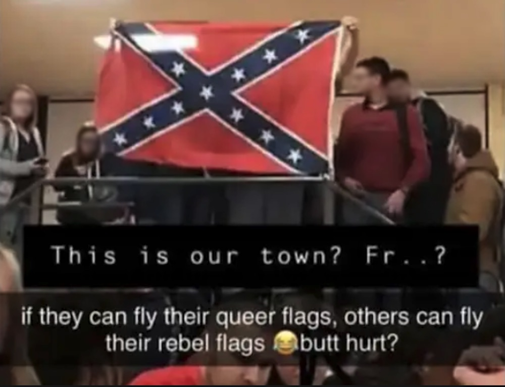 Students fly the Confederate flag at West Plains High School in Missouri