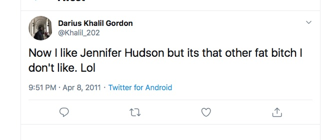 A homophobic or misogynist tweet from Darius Khalil Gordon.