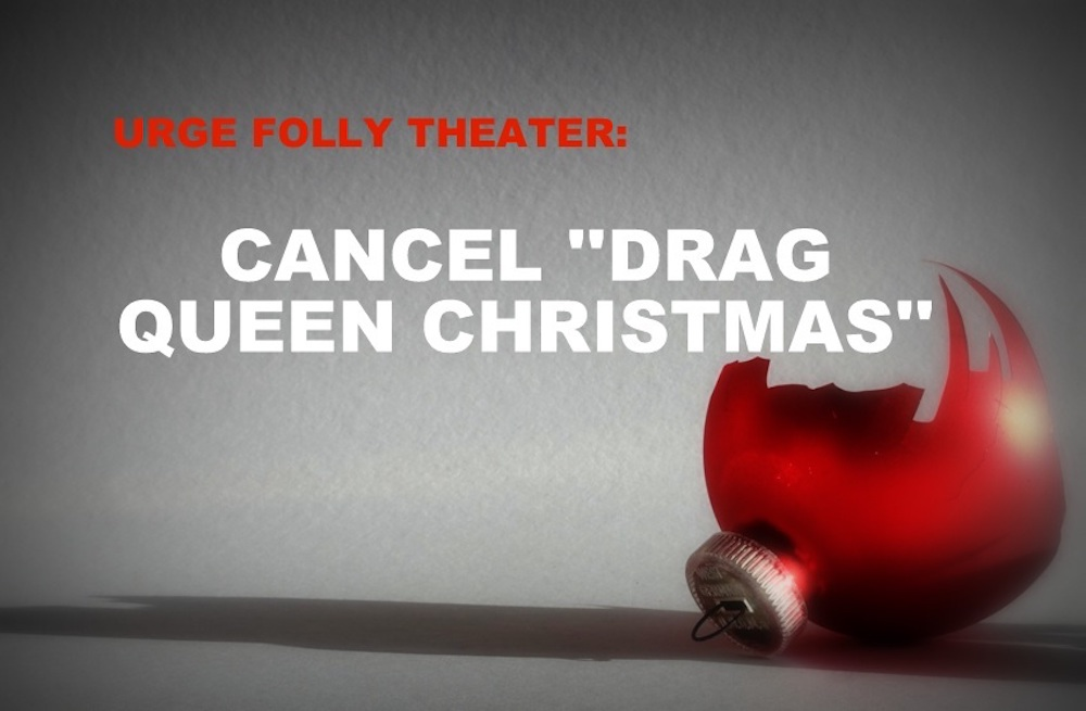 An image from the American Society for the Defense of Tradition, Family and Property's petition against the holiday-themed drag performance.