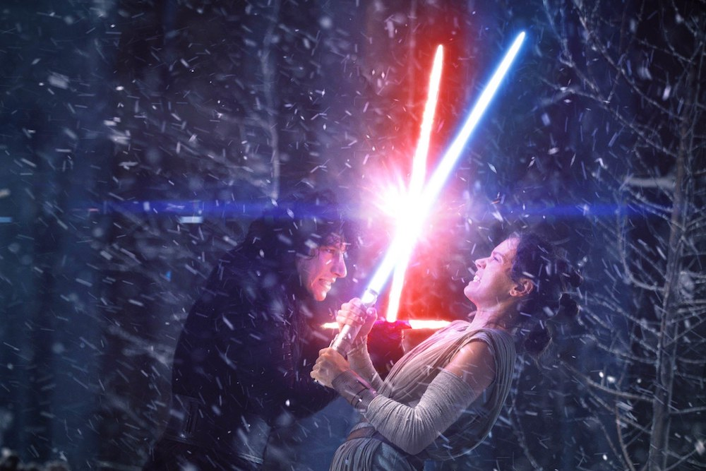 A climactic fight between Kylo Ren and Rey, the villain and hero of Star Wars IX: The Rise of Skywalker