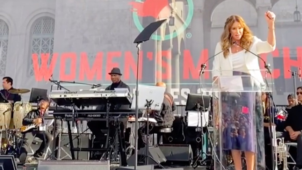Caitlyn Jenner speaking at the 2019 L.A. Women's March
