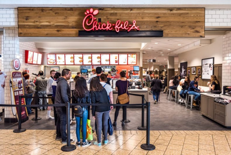 Fairfax, VA - February 18, 2017: Chick-fil-A store with people in line waiting to buy food.