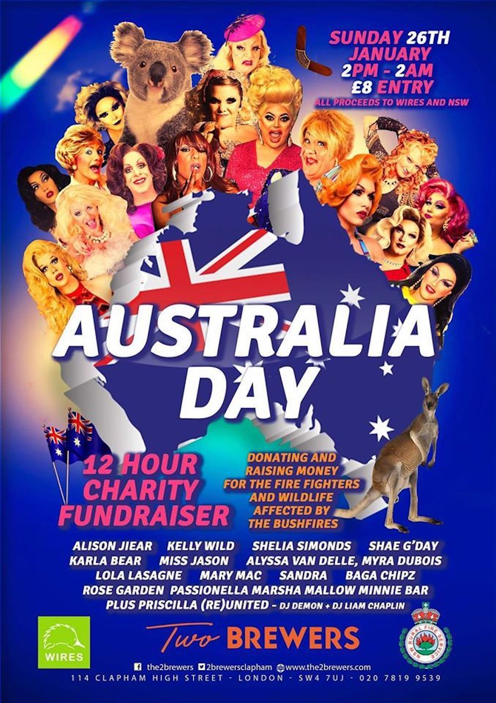 A poster for Two Brewers' Australia Day fundraiser to aid firefighters and wildlife affected by the widespread Australian bushfires.
