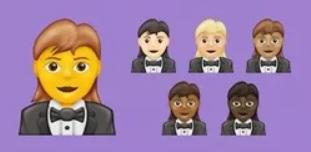 The woman-in-tux emoji