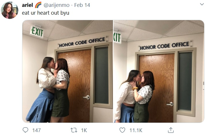 A student tweeted pictures of her kissing another woman at BYU.