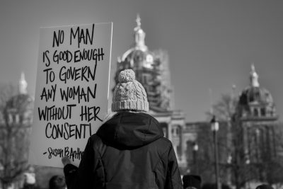 Protest sign seen at the Iowa Women's Rally at the Iowa State Capitol on January, 20, 2018.