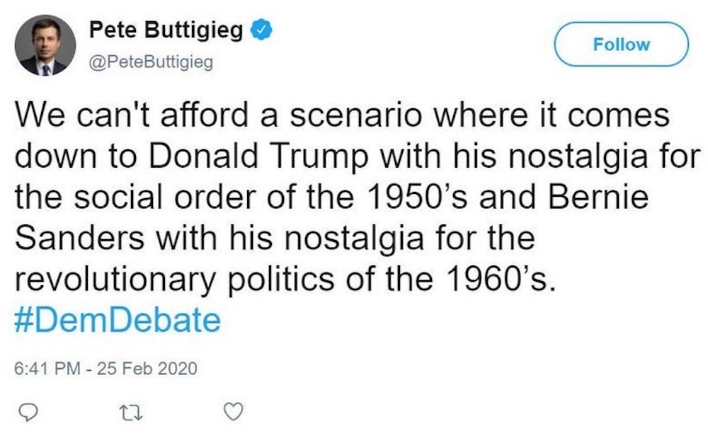 Pete Buttigieg's now-deleted tweet about the 1960s.