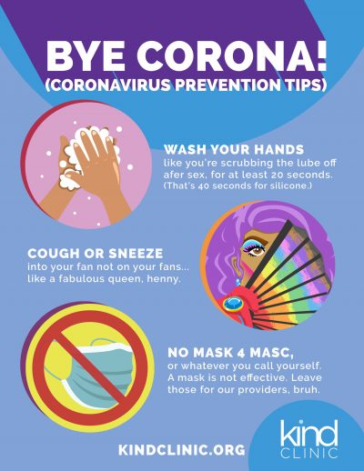 A poster providing tips for dealing with the coronavirus.
