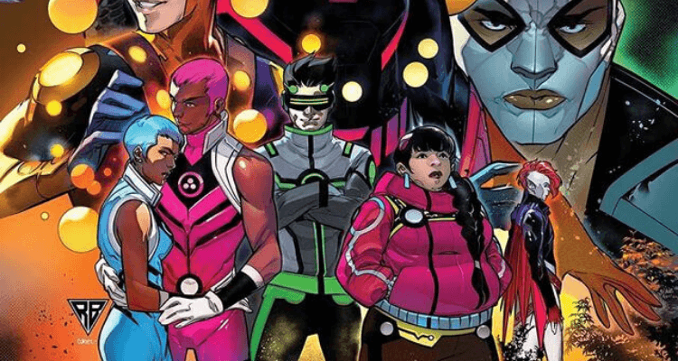 An image of Snowflake, Safespace, Screentime,Trailblazer and B-Negative, the newest heroes of The New Warriors.