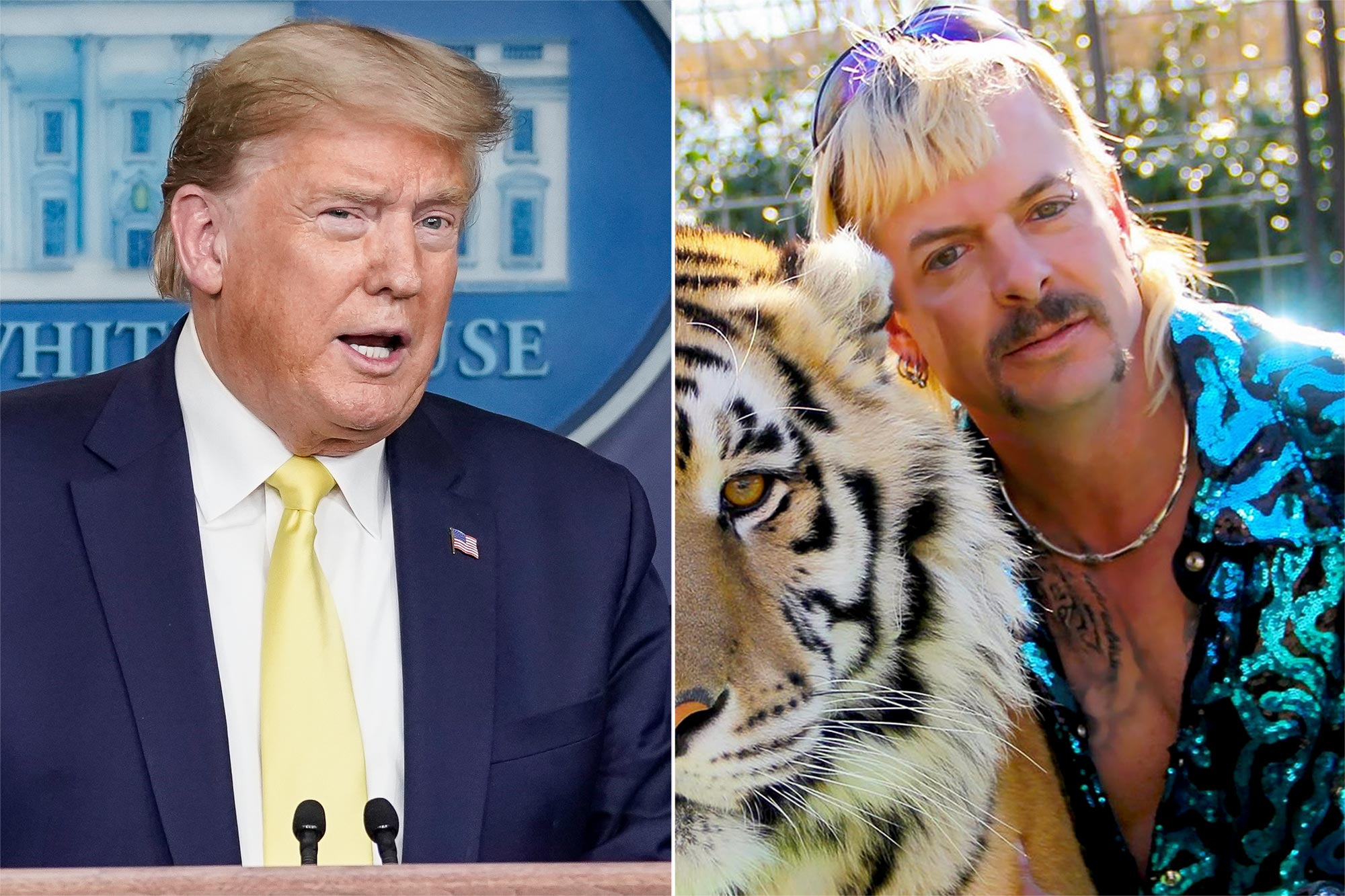 "President Donald Trump and jailed former ""zookeeper"" Joe Exotic"
