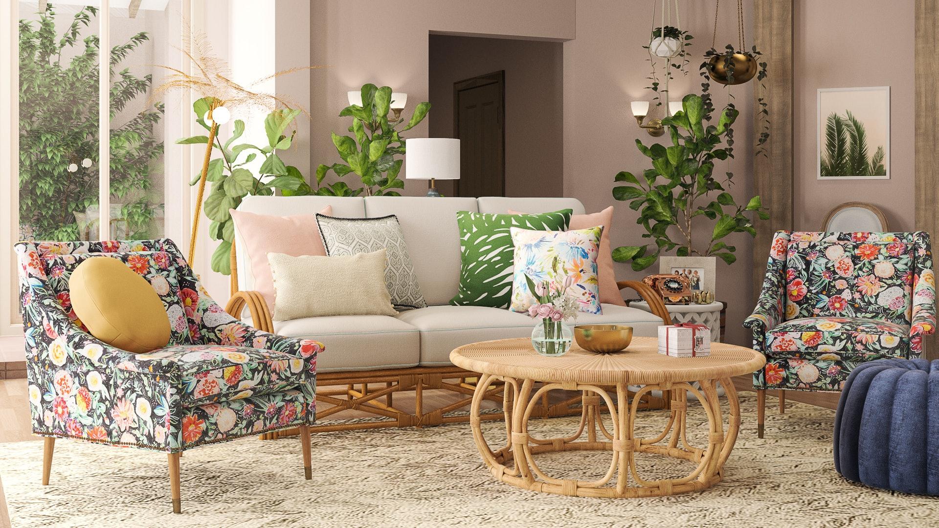 the Golden Girls' living room in the app's background