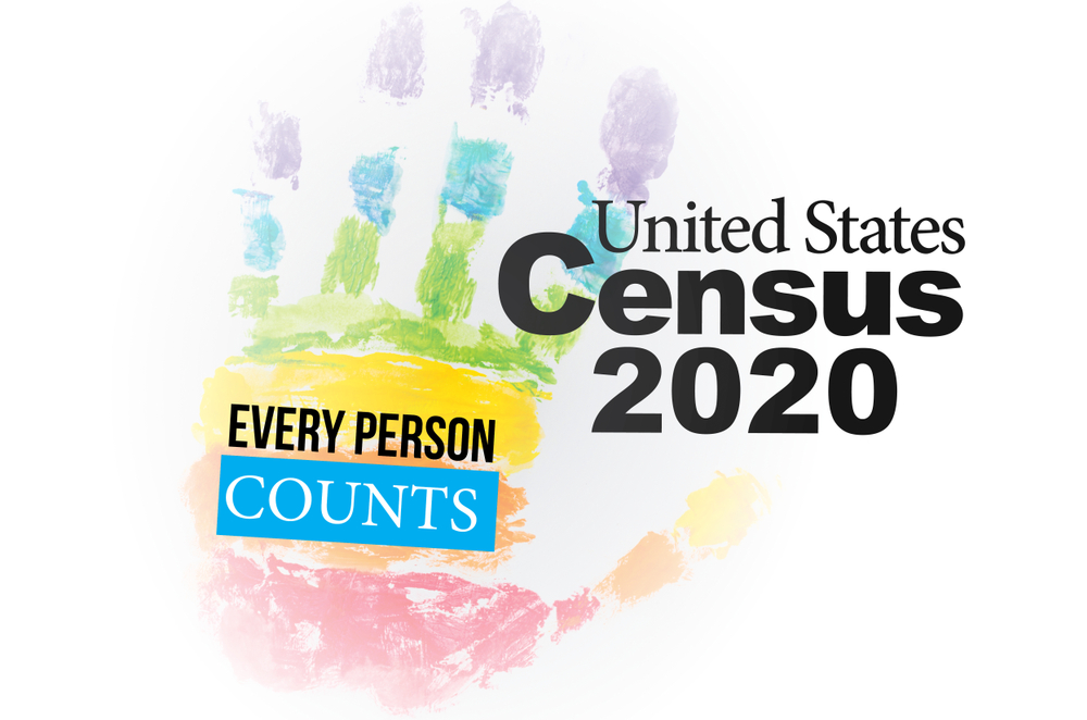 "A rainbow handprint with ""Every person counts"" written on it. A logo about the 2020 Census"