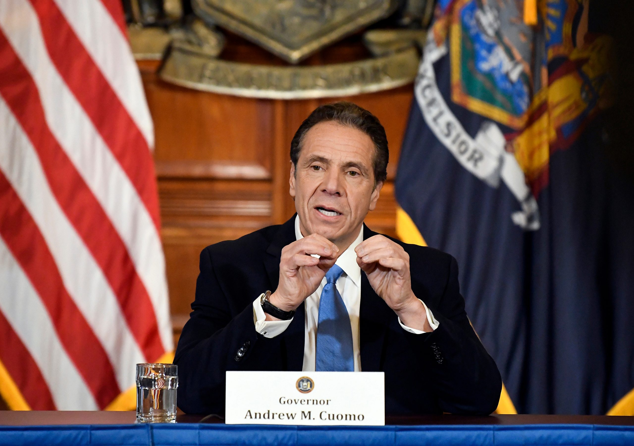 3/16/2020: New York Gov. Andrew Cuomo announces efforts to prevent the spread of the coronavirus during a news conference in the Red Room at the state Capitol.