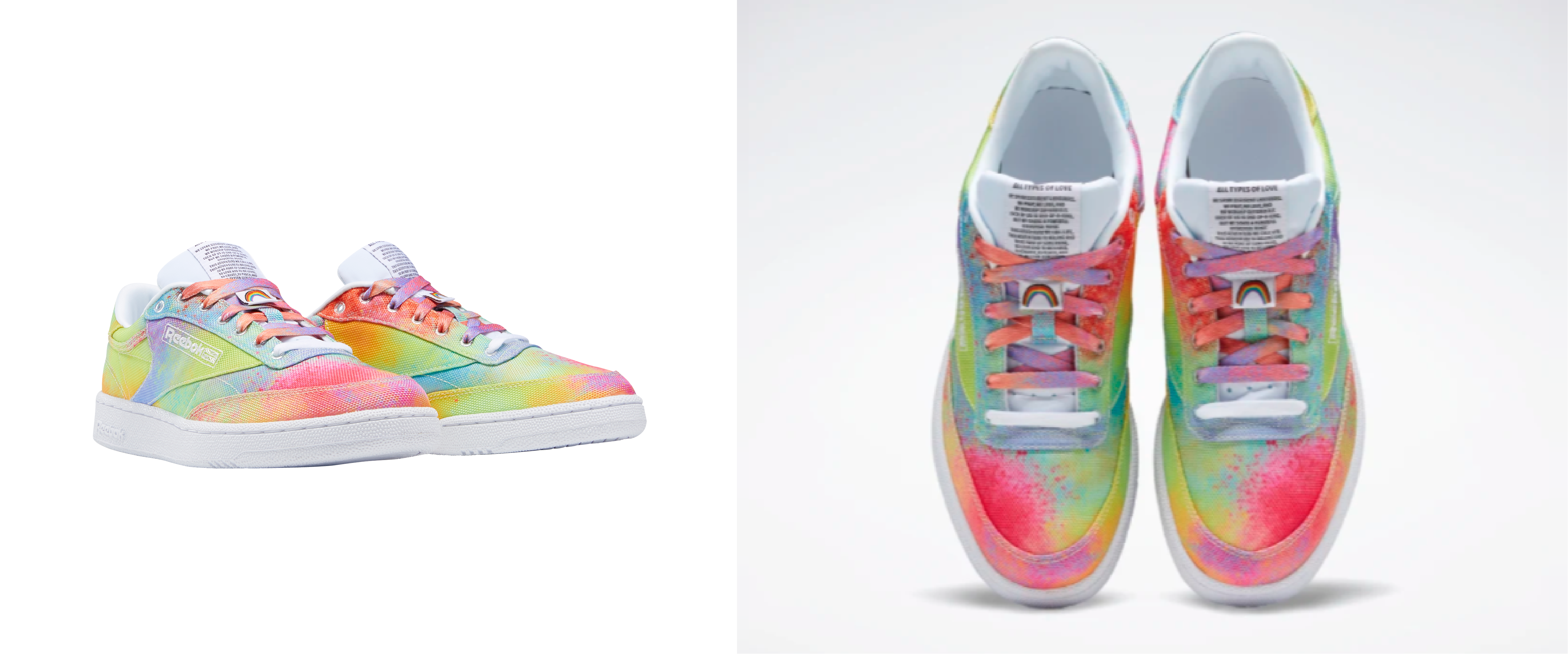 A side-by-side photo, different angles, of Reebok's Pride-Inspired Club C 85 shoes.