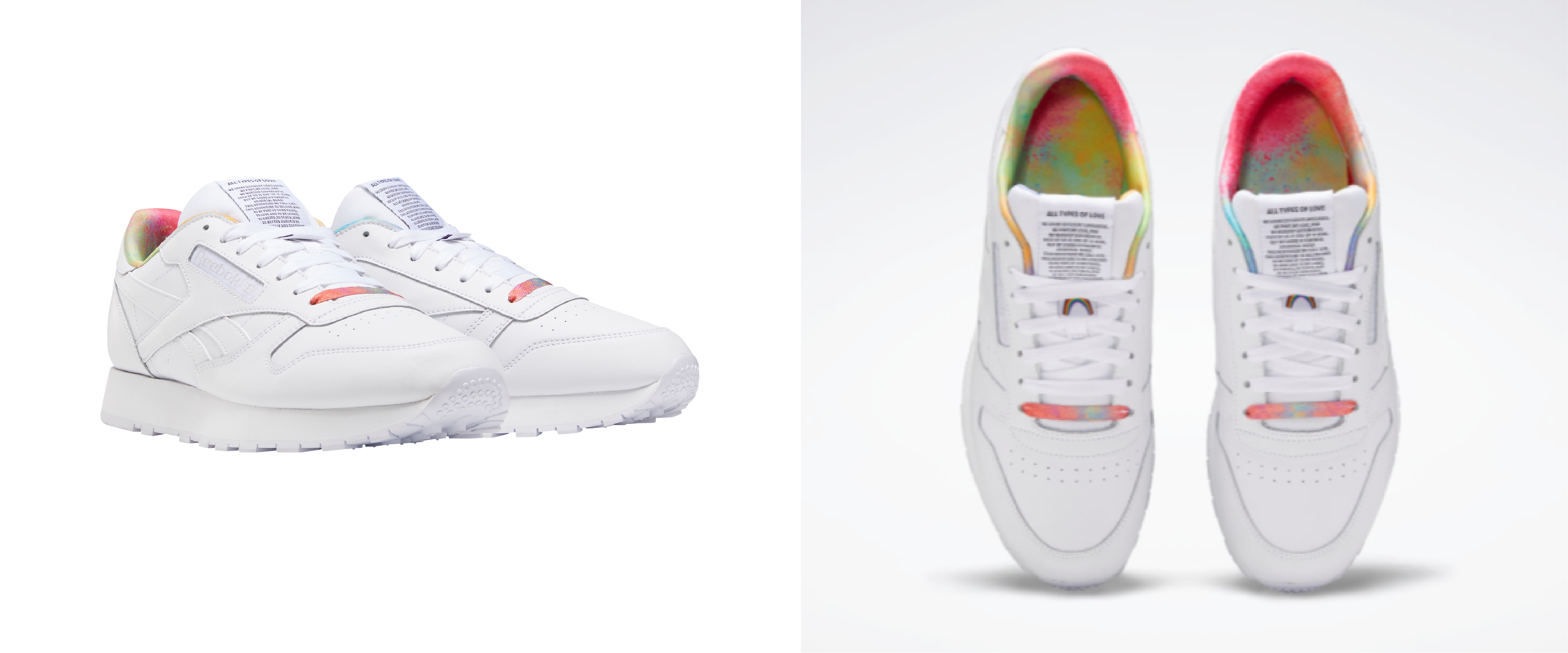 A side-by-side photo, different angles, of Reebok's Pride-Inspired classic leather Pride shoes.
