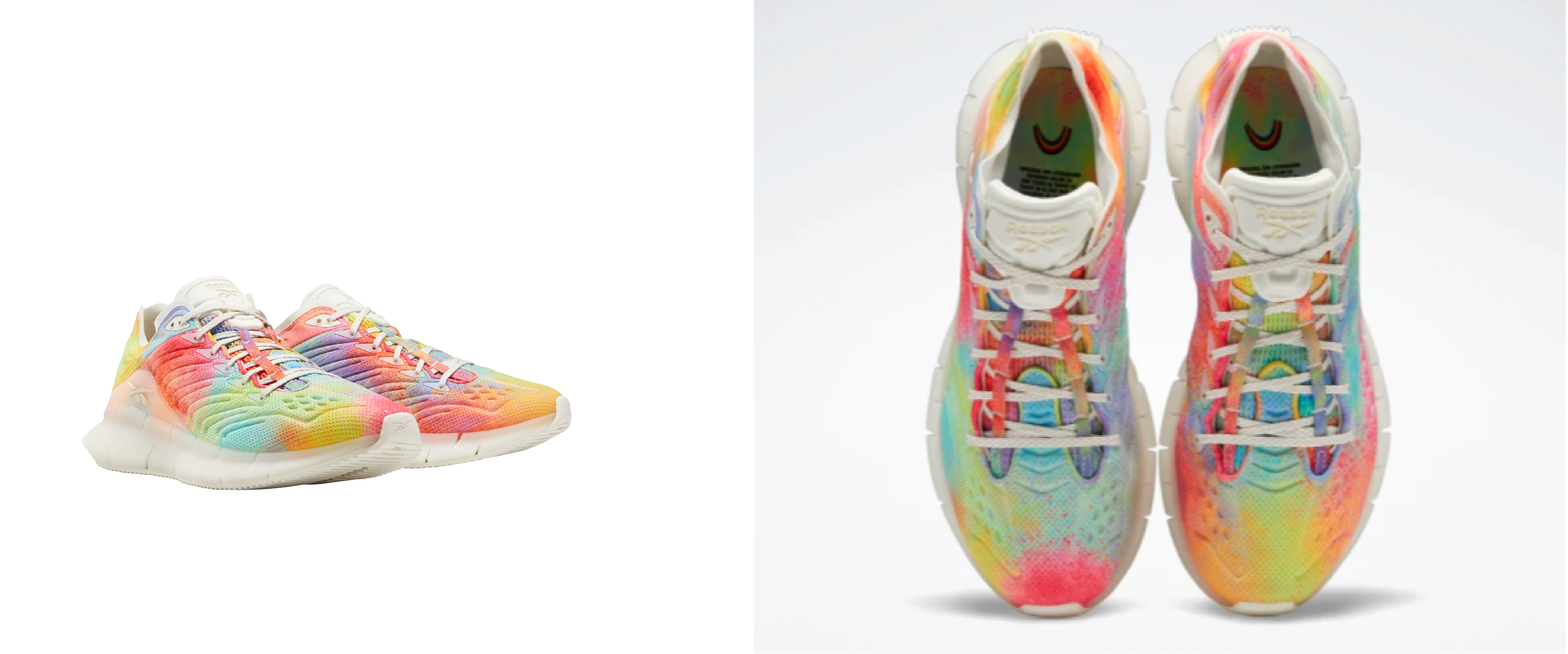A side-by-side photo, different angles, of Reebok's Pride-Inspired Zinetica shoes.