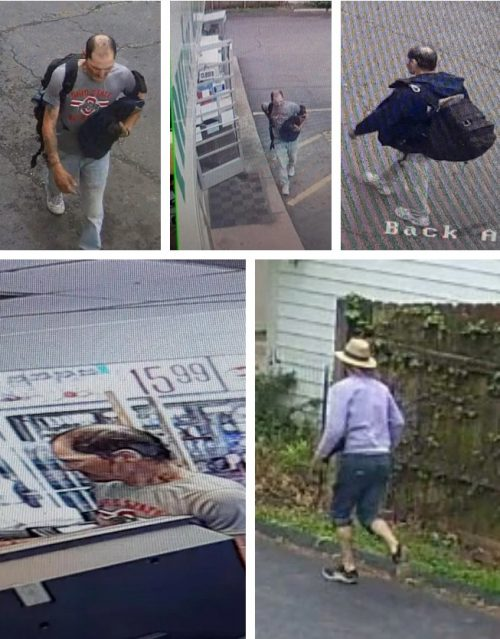 Security camera images of a possible suspect