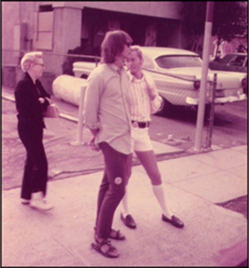 David Stout and Jamie Dibbins at the L.A. gay liberation parade - June 28, 1971.