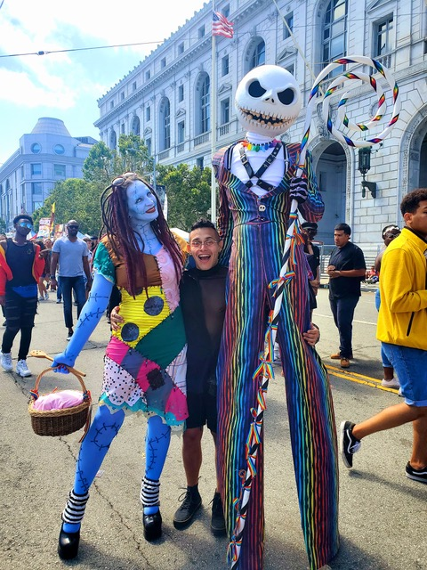 Matthew Ayon in San Francisco with Tim Burton characters, June 30, 2019.