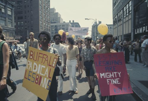 Representatives of the Buffalo Radical Lesbians take part in an LGBT parade through New York City on Christopher Street Gay Liberation Day 1971.