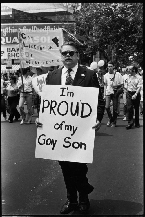 American lawyer Dick Ashworth marches with a sign that reads 'I'm Proud of My Gay Son' in the Fifth Annual Gay Pride Day march (Gay Liberation Day), New York, New York, June 30, 1974.