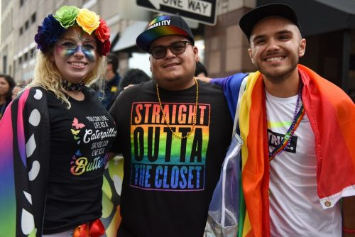 Josh Chernow (right), with friends Randall (center) and Taylor (left) at the Motor City Pride Parade, June 10, 2018.
