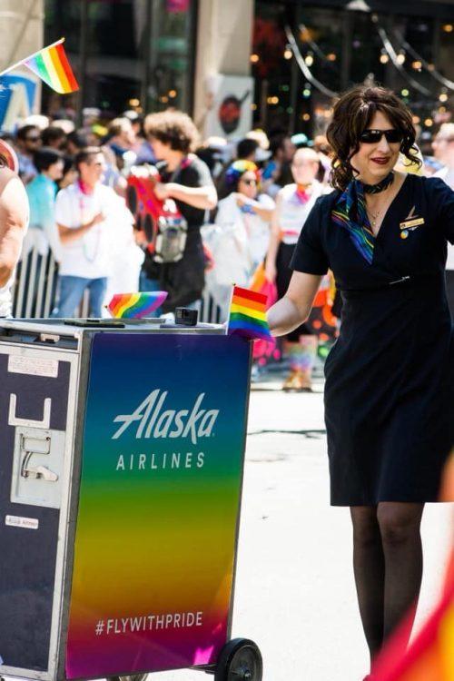 Odette Bishop in the Alaska Airlines float.