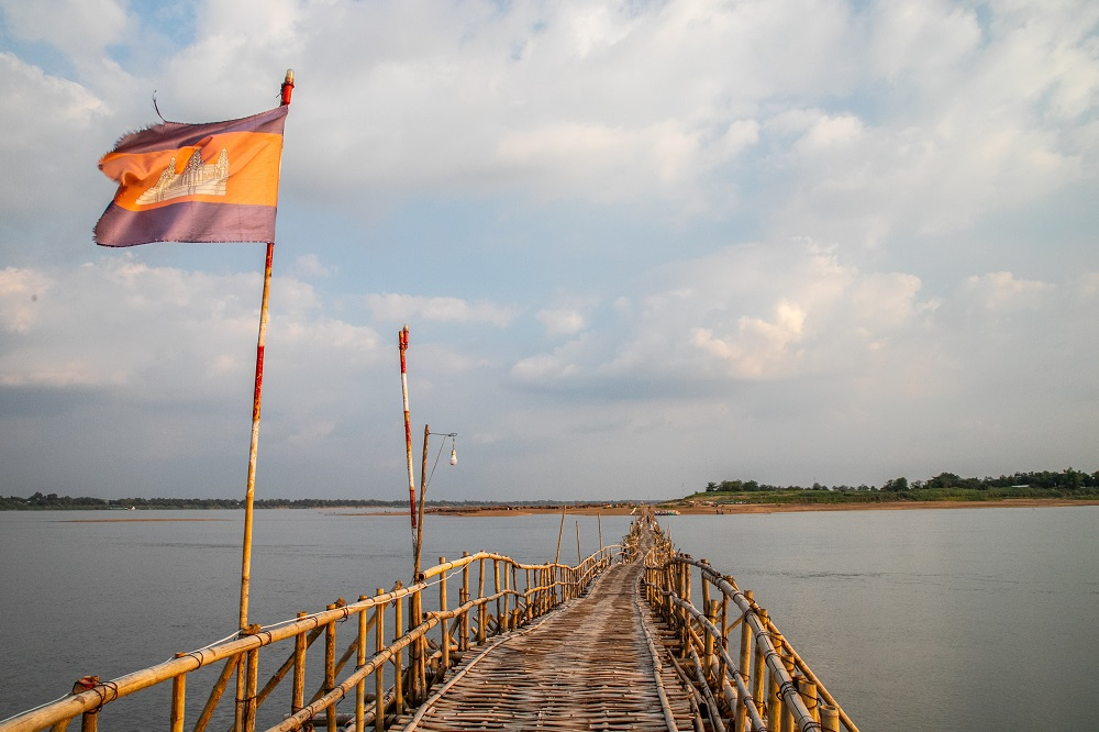 A bridge across the Mekong River in Kampong Cham, Cambodia