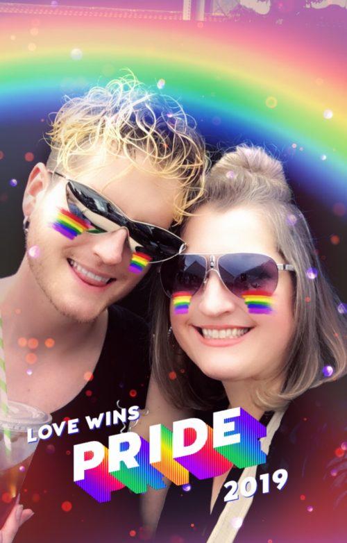 Dalton (left) and mom Dresden Grogan (right), Los Angeles Pride 2019.