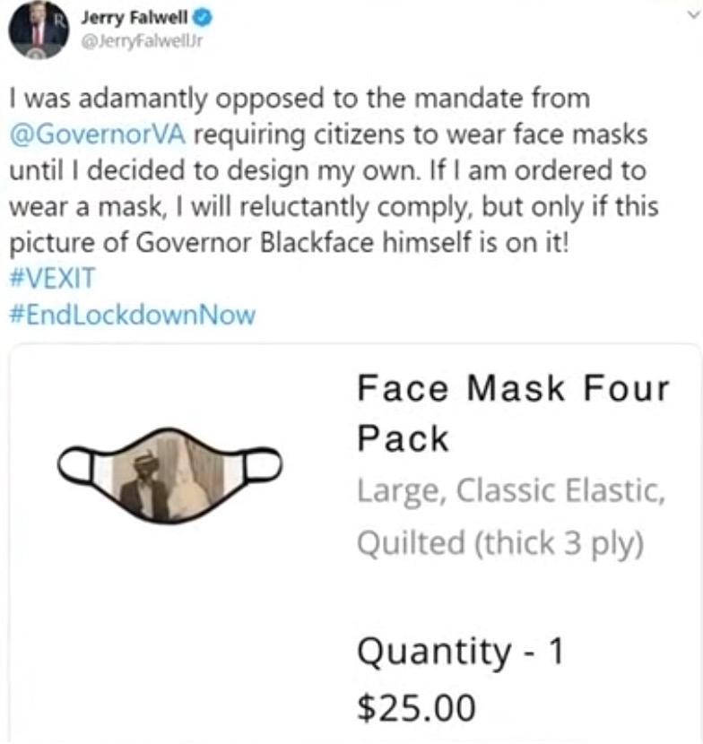 Liberty University President Jerry Falwell Jr.'s blackface and KKK Twitter post.