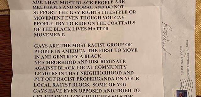 A section of a letter sent through the mail to a DC resident