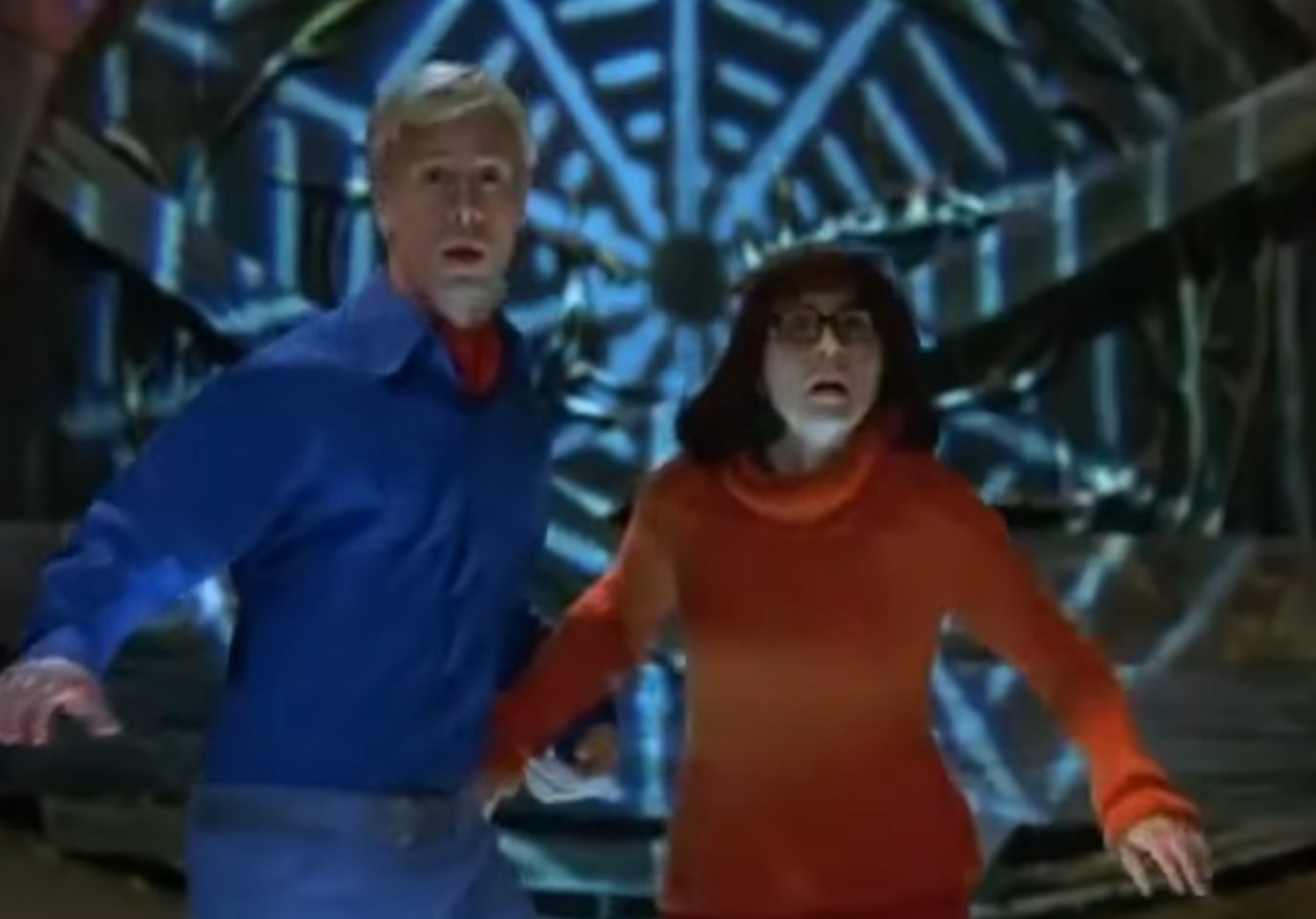 "Freddie Prinze Jr. as Fred and Linda Cardellini as Velma in the trailer for ""Scooby Doo."""