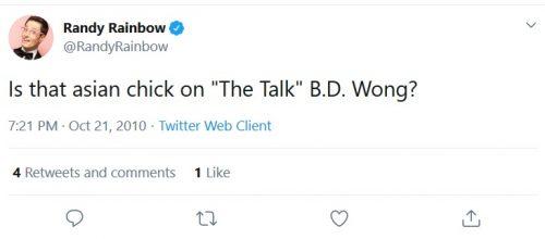 Racist Randy Rainbow tweet