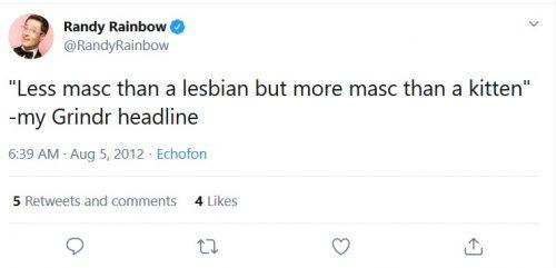 Lesbophobic Randy Rainbow tweet